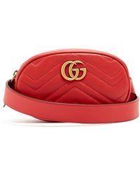 9e055382b124 Lyst - Gucci Green Velvet Gg Marmont 2.0 Belt Bag in Green