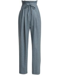 Rodarte - Checked Wool Paper-bag Trousers - Lyst