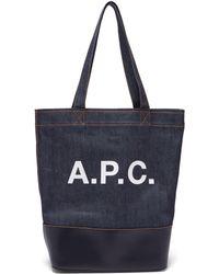 A.P.C. - Axel Japanese Denim Tote Bag - Lyst