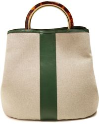 Marni - Pannier Canvas And Leather Bag - Lyst