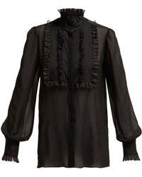Dolce & Gabbana - Ruffled High Neck Silk Blend Chiffon Blouse - Lyst