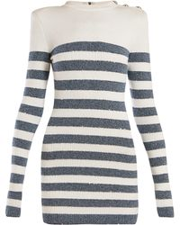 Balmain - Lurex Striped Viscose Knit Dress - Lyst