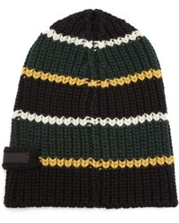 Prada - Striped Virgin Wool Beanie Hat - Lyst
