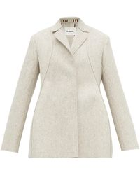 Jil Sander Single Breasted Wool Blend Peacoat - Gray