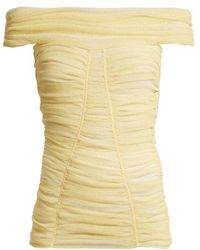 Dolce & Gabbana - Off-the-shoulder Ruched Sheer Top - Lyst