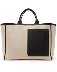 Valextra - Leather Trimmed Canvas Tote Bag - Lyst