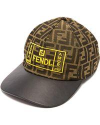 Fendi Casquette à visière en cuir et logo FF brodé - Marron