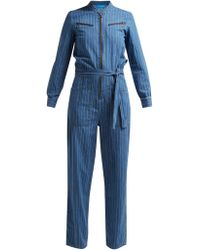 M.i.h Jeans - Margot Pinstriped Cotton Chambray Jumpsuit - Lyst