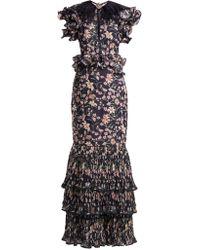 Johanna Ortiz - Dark Florals Feather Trim Gown - Lyst