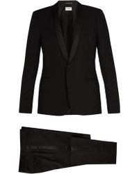 Saint Laurent - Shawl-collar Satin-trimmed Wool Tuxedo - Lyst