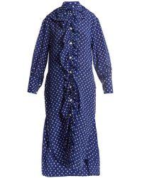 Marni - Ruffled Placket Fleck Print Silk Shirtdress - Lyst