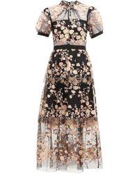 ac386925da64 Self-Portrait - Floral Sequin Embellished Tulle Midi Dress - Lyst