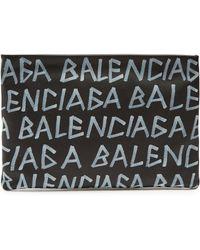 Balenciaga - Graffiti Printed Leather Pouch - Lyst