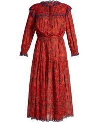 Étoile Isabel Marant - Eina Embroidered Floral Print Midi Dress - Lyst