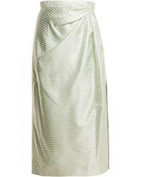 Carolina Herrera - High Rise Gingham Silk Midi Skirt - Lyst