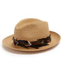 Filù Hats - Chapeau de paille bordé de plumes Sinatra - Lyst