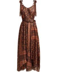 Zimmermann - Juniper Scarf Print Silk Midi Dress - Lyst