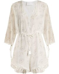 Athena Procopiou - Romance In The Wind Silk-crepe Playsuit - Lyst