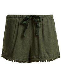 Figue - Maja Tassel-hem Silk-blend Shorts - Lyst