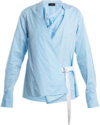 JOSEPH - Arran Striped Cowl-neck Wrap Shirt - Lyst