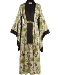 Adriana Iglesias - Anna Reversible Tropical-print Stretch-silk Robe - Lyst