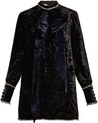 Gucci - Crystal And Bow-embellished Velvet Top - Lyst
