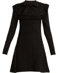 Joos Tricot | Ruffle-trimmed Tie-neck Stretch-knit Dress | Lyst