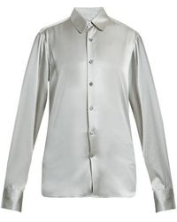CONNOLLY - Point-collar Stretch-silk Satin Shirt - Lyst