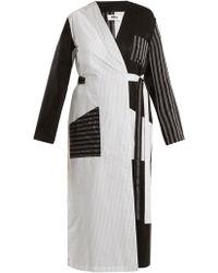 MM6 by Maison Martin Margiela - Contrasting-stripe Cotton-poplin Long Jacket - Lyst