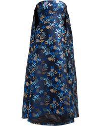 f0fbc2517995 Rodarte Ruffled Floral Print Silk Satin Gown in Blue - Lyst