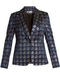 Diane von Furstenberg - Waved-check Single-breasted Jacquard Jacket - Lyst