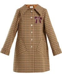 Gucci - Bow Appliqué Single Breasted Checked Coat - Lyst