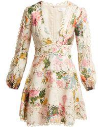 Zimmermann - Heathers Floral Print Linen Dress - Lyst