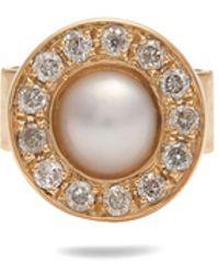 Anissa Kermiche | Diamond, Pearl & Yellow-gold Single Earring | Lyst