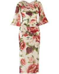 Dolce & Gabbana - Peony And Rose Print Georgette Midi Dress - Lyst
