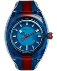 Gucci - Transparent Nylon & Striped Rubber Strap Watch/blue - Lyst