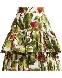 Dolce & Gabbana - Fig Print Tiered Cotton Skirt - Lyst