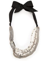 Lanvin - Bow And Faux-pearl Embellished Necklace - Lyst