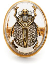 Alexander McQueen - Scarab Pearl And Crystal Embellished Ring - Lyst