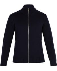 Prada - High Neck Zip Up Wool Jumper - Lyst