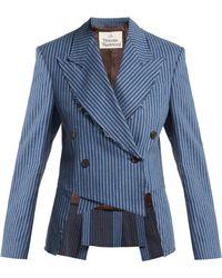 Vivienne Westwood - Striped Brushed Cotton Cutaway Blazer - Lyst