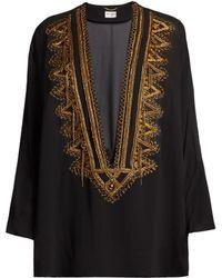 Saint Laurent - Embroidered V-cut Silk-georgette Top - Lyst