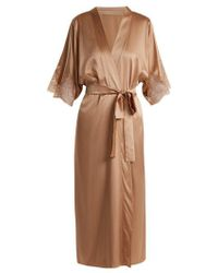 Fleur Of England - Caramel Lace-detail Silk-blend Robe - Lyst