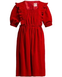 Shrimps - Malacky Ruffle Cotton-corduroy Babydoll Dress - Lyst