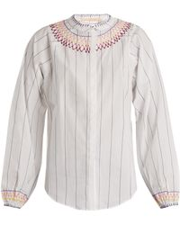 Bliss and Mischief | Smocked Pinstriped Cotton Blouse | Lyst