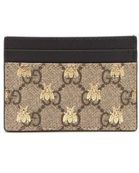 Gucci - Gg Supreme Logo And Bee Cardholder - Lyst