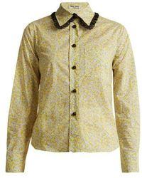 Miu Miu - Floral-print Cotton-poplin Shirt - Lyst