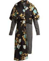 Junya Watanabe - Robe en laine et satin à imprimé fleuri - Lyst
