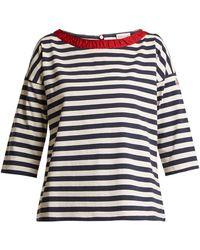 Moncler - Boat-neck Striped Cotton T-shirt - Lyst