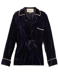 Gucci - Crystal-embellished Velvet Pyjama Shirt - Lyst